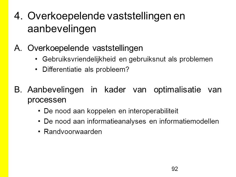 4.Overkoepelende vaststellingen en aanbevelingen A.Overkoepelende vaststellingen Gebruiksvriendelijkheid en gebruiksnut als problemen Differentiatie als probleem.