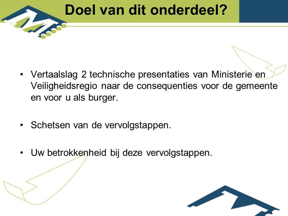 Vertaalslag 2 technische presentaties van Ministerie en Veiligheidsregio naar de consequenties voor de gemeente en voor u als burger.