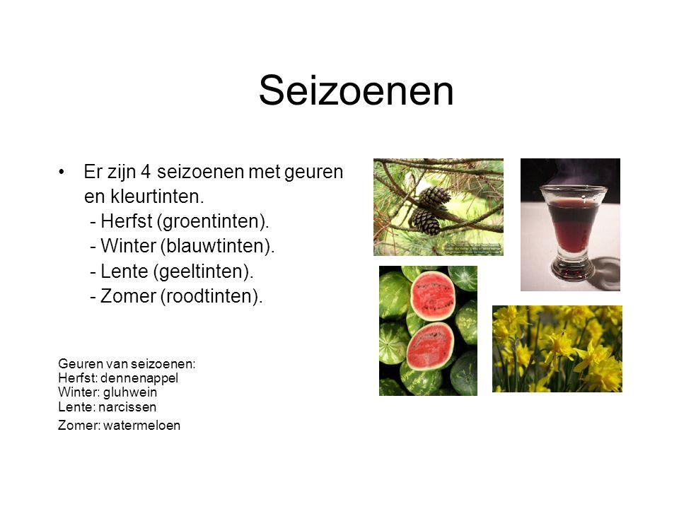 Er zijn 4 seizoenen met geuren en kleurtinten.- Herfst (groentinten).