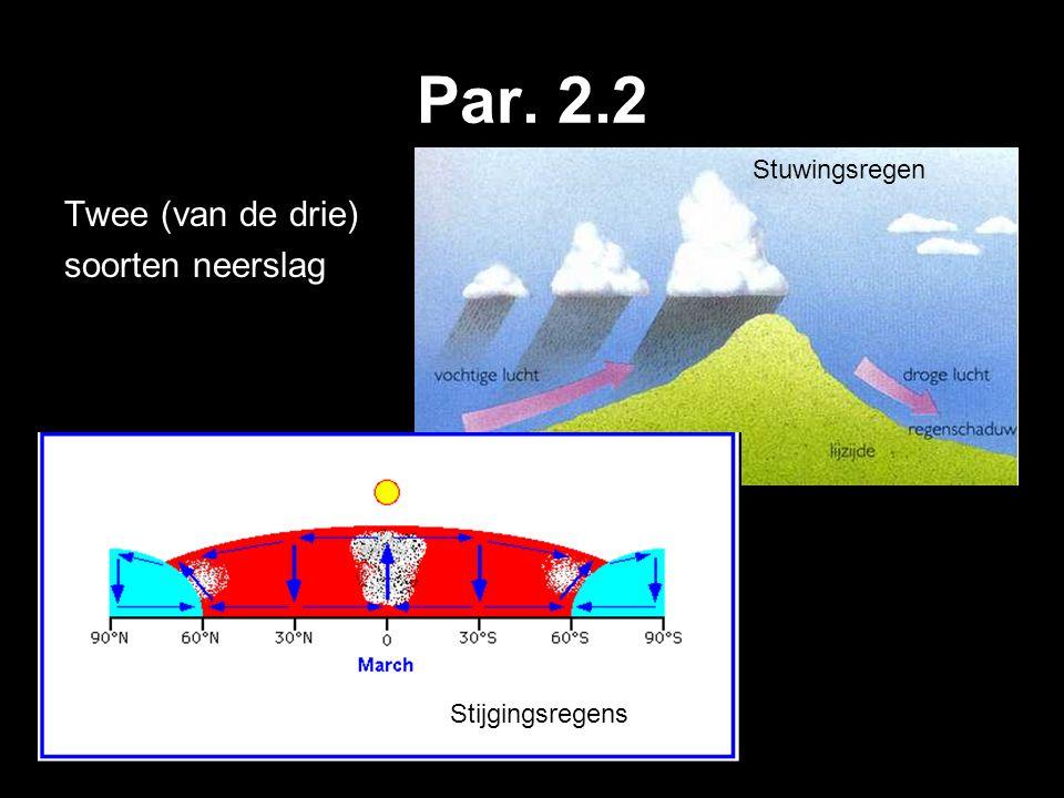 Par. 2.2 Twee (van de drie) soorten neerslag Stijgingsregens Stuwingsregen