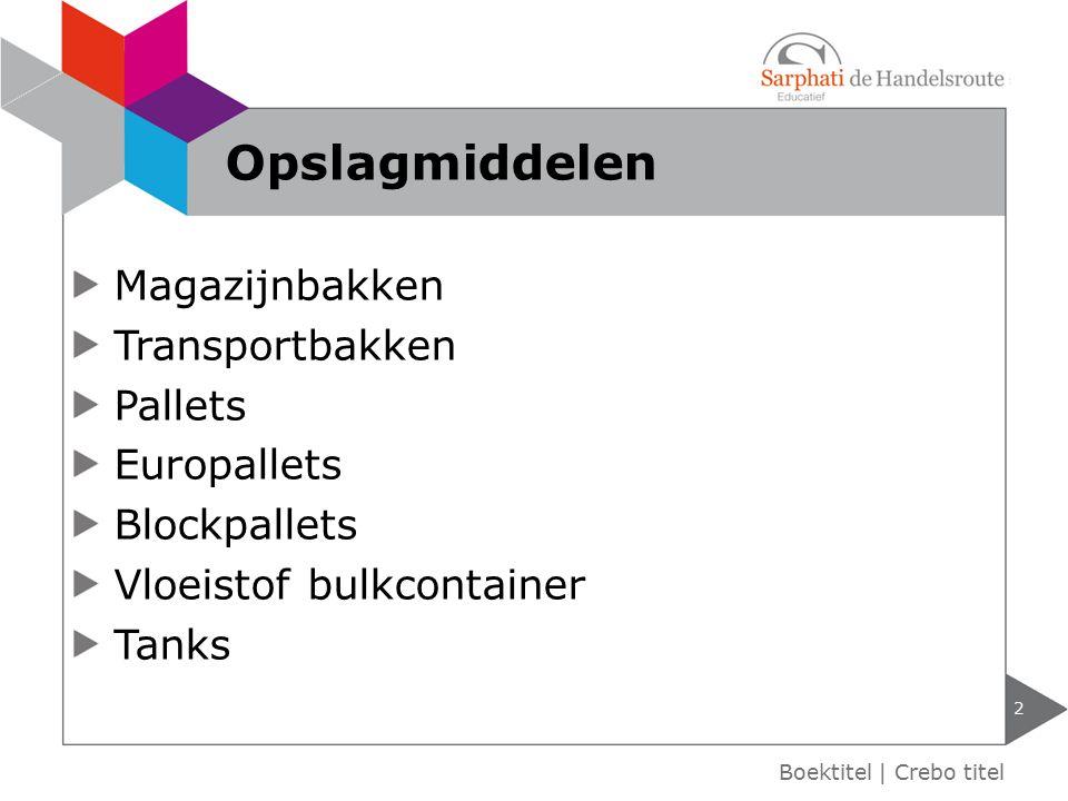 Magazijnbakken Transportbakken Pallets Europallets Blockpallets Vloeistof bulkcontainer Tanks 2 Boektitel | Crebo titel Opslagmiddelen