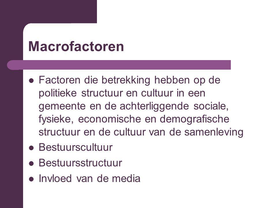 Macrofactoren Factoren die betrekking hebben op de politieke structuur en cultuur in een gemeente en de achterliggende sociale, fysieke, economische en demografische structuur en de cultuur van de samenleving Bestuurscultuur Bestuursstructuur Invloed van de media