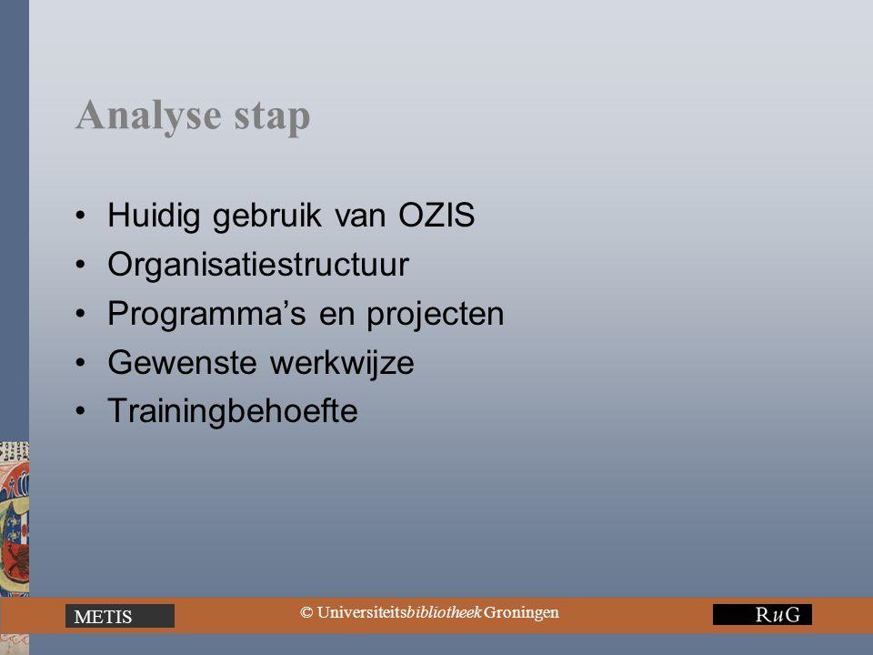 METIS © Universiteitsbibliotheek Groningen Analyse stap Huidig gebruik van OZIS Organisatiestructuur Programma's en projecten Gewenste werkwijze Train