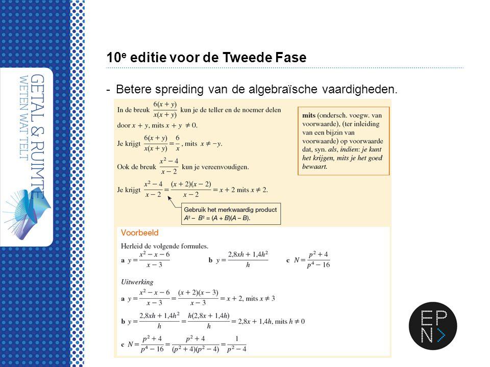 10 e editie voor de Tweede Fase -Betere spreiding van de algebraïsche vaardigheden.