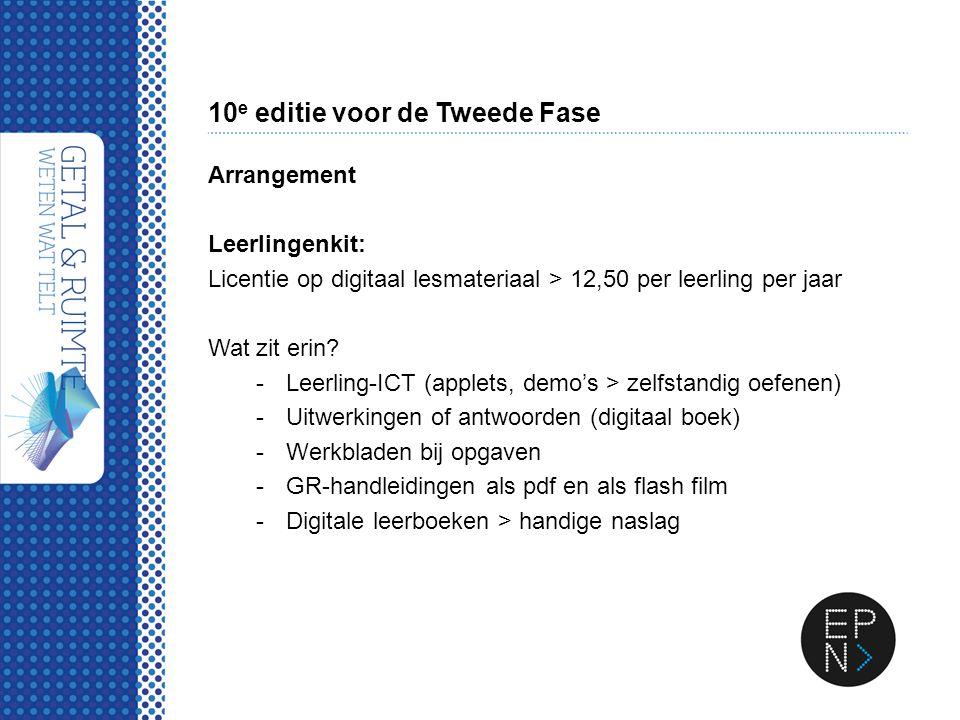 10 e editie voor de Tweede Fase Arrangement Leerlingenkit: Licentie op digitaal lesmateriaal > 12,50 per leerling per jaar Wat zit erin? -Leerling-ICT