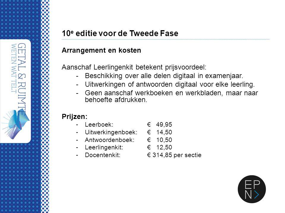 10 e editie voor de Tweede Fase Arrangement en kosten Aanschaf Leerlingenkit betekent prijsvoordeel: -Beschikking over alle delen digitaal in examenja