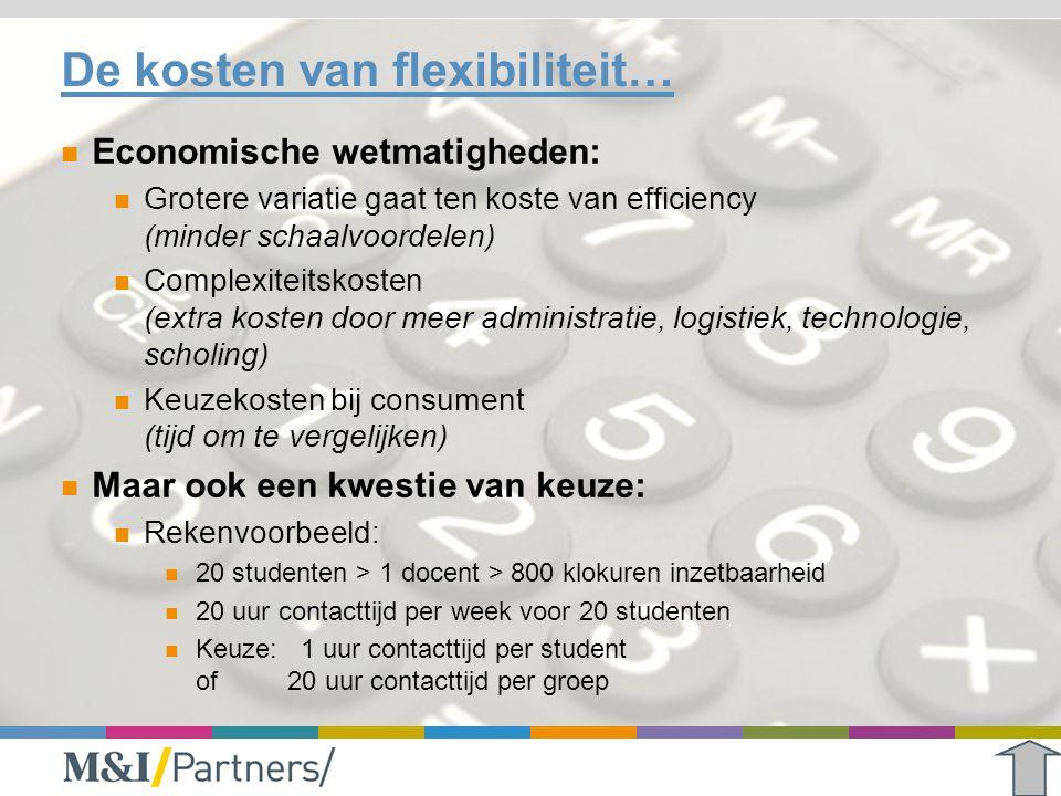 De kosten van flexibiliteit… Economische wetmatigheden: Grotere variatie gaat ten koste van efficiency (minder schaalvoordelen) Complexiteitskosten (e