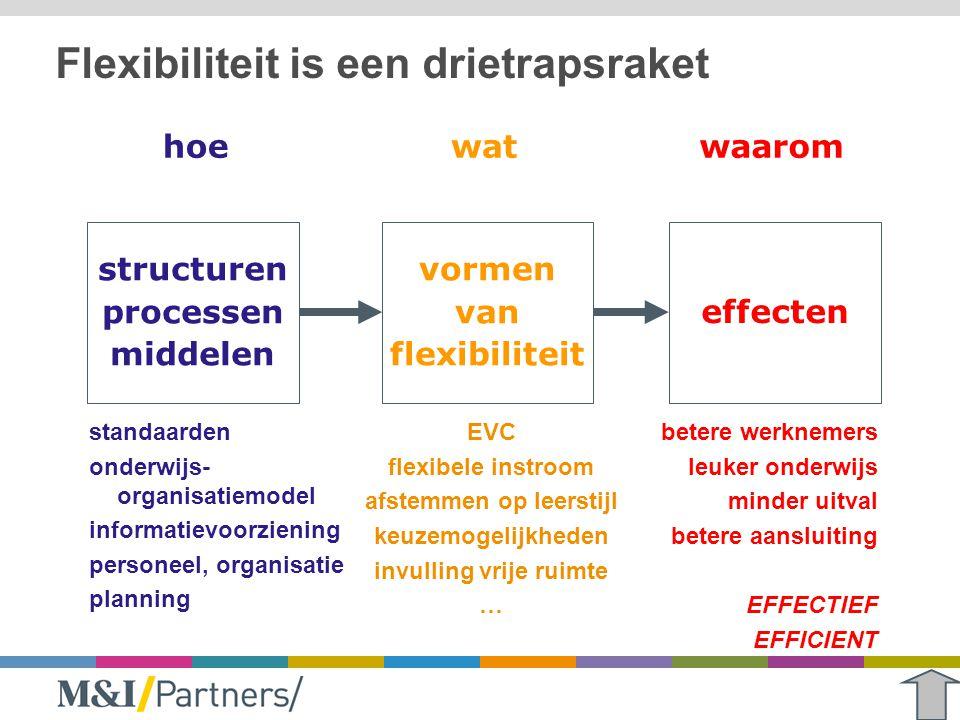Flexibiliteit is een drietrapsraket standaarden onderwijs- organisatiemodel informatievoorziening personeel, organisatie planning EVC flexibele instro