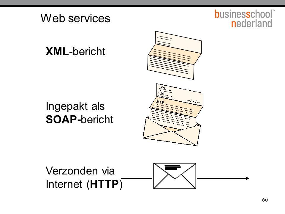 60 Web services XML-bericht Ingepakt als SOAP-bericht Verzonden via Internet (HTTP)