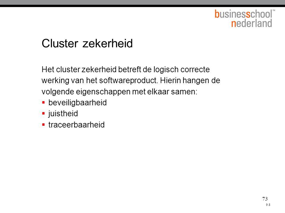 73 Cluster zekerheid Het cluster zekerheid betreft de logisch correcte werking van het softwareproduct.