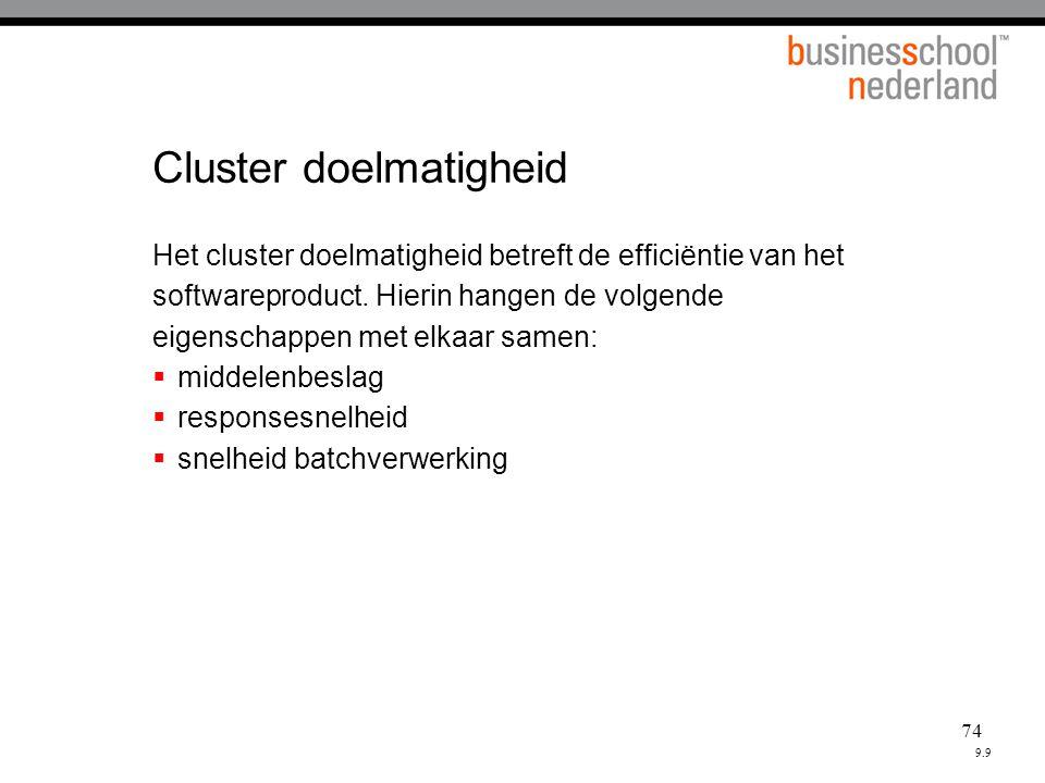 74 Cluster doelmatigheid Het cluster doelmatigheid betreft de efficiëntie van het softwareproduct.