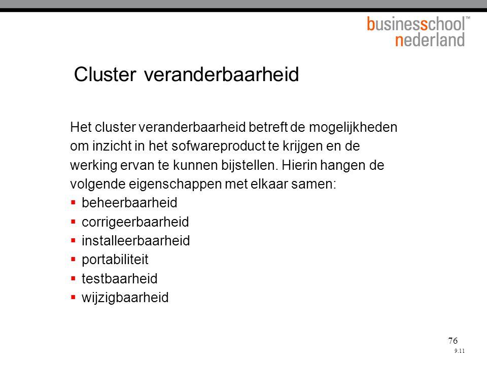 76 Cluster veranderbaarheid Het cluster veranderbaarheid betreft de mogelijkheden om inzicht in het sofwareproduct te krijgen en de werking ervan te kunnen bijstellen.