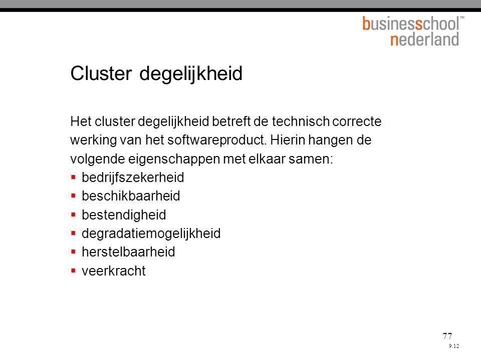 77 Cluster degelijkheid Het cluster degelijkheid betreft de technisch correcte werking van het softwareproduct.