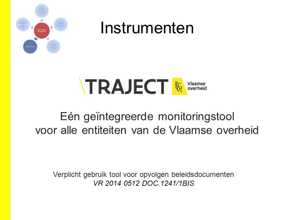 Instrumenten Eén geïntegreerde monitoringstool voor alle entiteiten van de Vlaamse overheid Verplicht gebruik tool voor opvolgen beleidsdocumenten VR