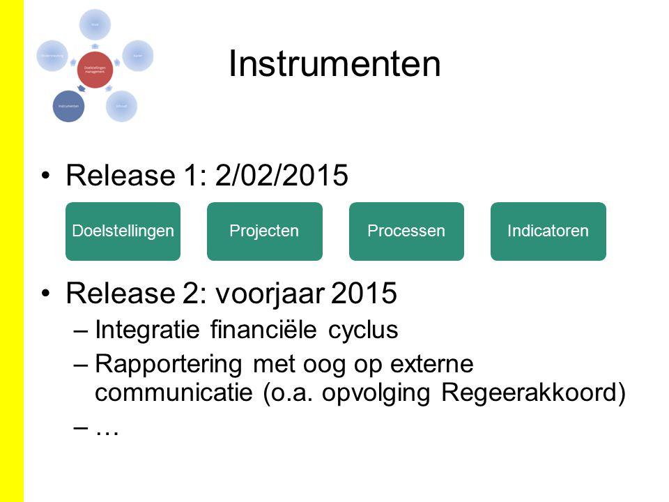 Instrumenten Release 1: 2/02/2015 Release 2: voorjaar 2015 –Integratie financiële cyclus –Rapportering met oog op externe communicatie (o.a. opvolging