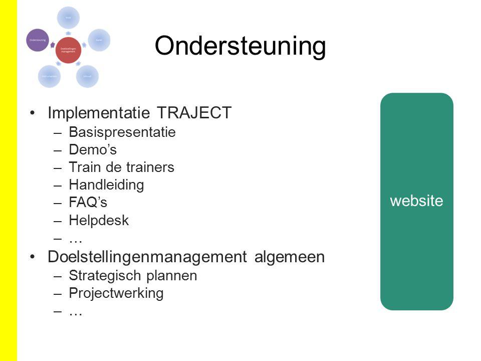 Ondersteuning Implementatie TRAJECT –Basispresentatie –Demo's –Train de trainers –Handleiding –FAQ's –Helpdesk –… Doelstellingenmanagement algemeen –S