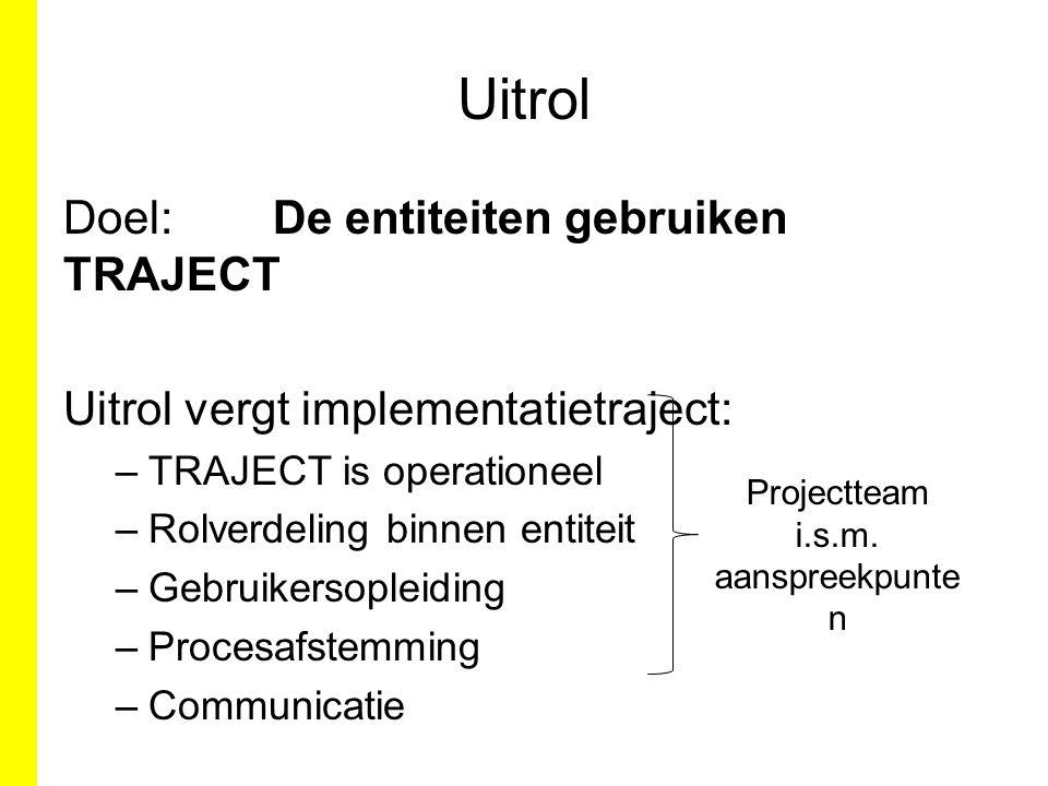 Uitrol Doel:De entiteiten gebruiken TRAJECT Uitrol vergt implementatietraject: –TRAJECT is operationeel –Rolverdeling binnen entiteit –Gebruikersoplei