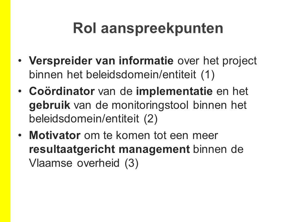 Rol aanspreekpunten Verspreider van informatie over het project binnen het beleidsdomein/entiteit (1) Coördinator van de implementatie en het gebruik