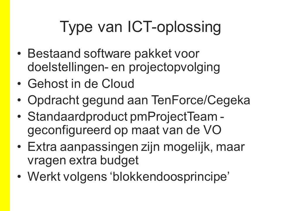 Type van ICT-oplossing Bestaand software pakket voor doelstellingen- en projectopvolging Gehost in de Cloud Opdracht gegund aan TenForce/Cegeka Standa