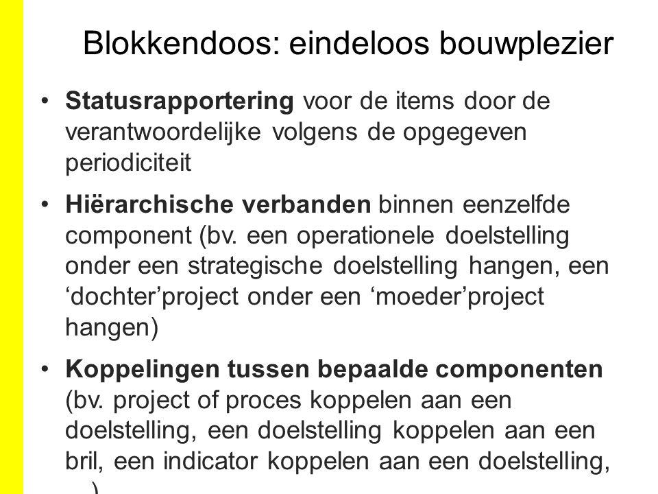 SD1 doelstelling 3 OD1.1 doelstelling 4 OD1.2 doelstelling 5 SD2 doelstelling 1 OD2.1 doelstelling 2 OD2.2 doelstelling 6 Project 1 Project 2 Programma 1 Project 3 Project 4 Proces 1 Proces 2 Project 1 Project 5 -------------- (effect)indicator a ------------- (effect)indicator b ----(output)indicator c --------------------indicator d ---------------indicator e ---------------------indicator f --------------------indicator g --------------------indicator d Doelstellinge n doelstelling 1 doelstelling 2 doelstelling 3 doelstelling 4 doelstelling 5 doelstelling 6 Brillen Beleidsnota X Beleidsbrief Y Ondernemingsplan Z Processen Proces 1 Proces 2 Proces 3 Programma's … Indicatoren … Projecten Project 1 Project 2 Project 3 Project 4 Project 5 Project 6 Bril: Beleidsnota X