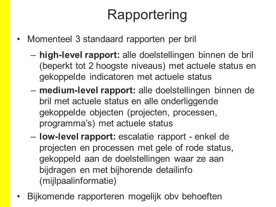 Rapportering Momenteel 3 standaard rapporten per bril –high-level rapport: alle doelstellingen binnen de bril (beperkt tot 2 hoogste niveaus) met actu