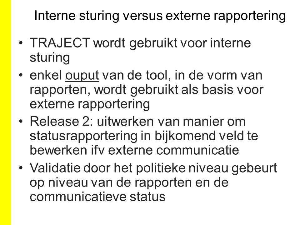 Interne sturing versus externe rapportering TRAJECT wordt gebruikt voor interne sturing enkel ouput van de tool, in de vorm van rapporten, wordt gebru