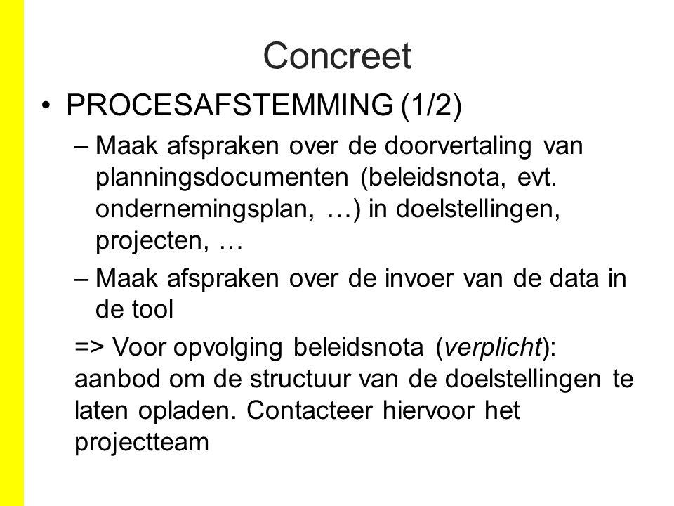 PROCESAFSTEMMING (1/2) –Maak afspraken over de doorvertaling van planningsdocumenten (beleidsnota, evt. ondernemingsplan, …) in doelstellingen, projec