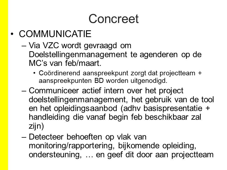COMMUNICATIE –Via VZC wordt gevraagd om Doelstellingenmanagement te agenderen op de MC's van feb/maart. Coördinerend aanspreekpunt zorgt dat projectte