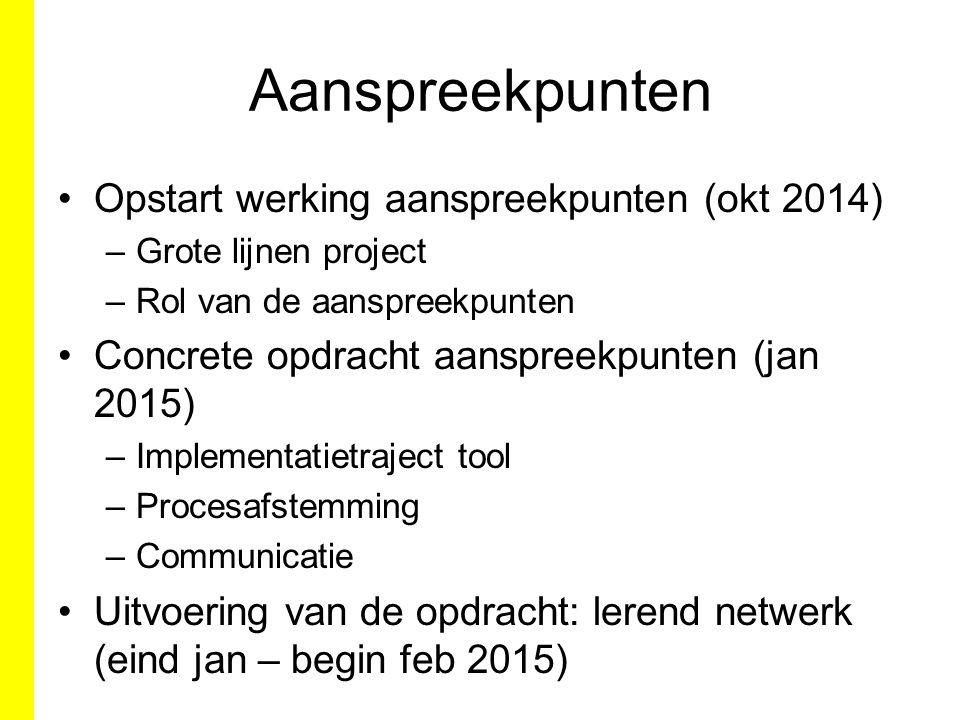Aanspreekpunten Opstart werking aanspreekpunten (okt 2014) –Grote lijnen project –Rol van de aanspreekpunten Concrete opdracht aanspreekpunten (jan 20