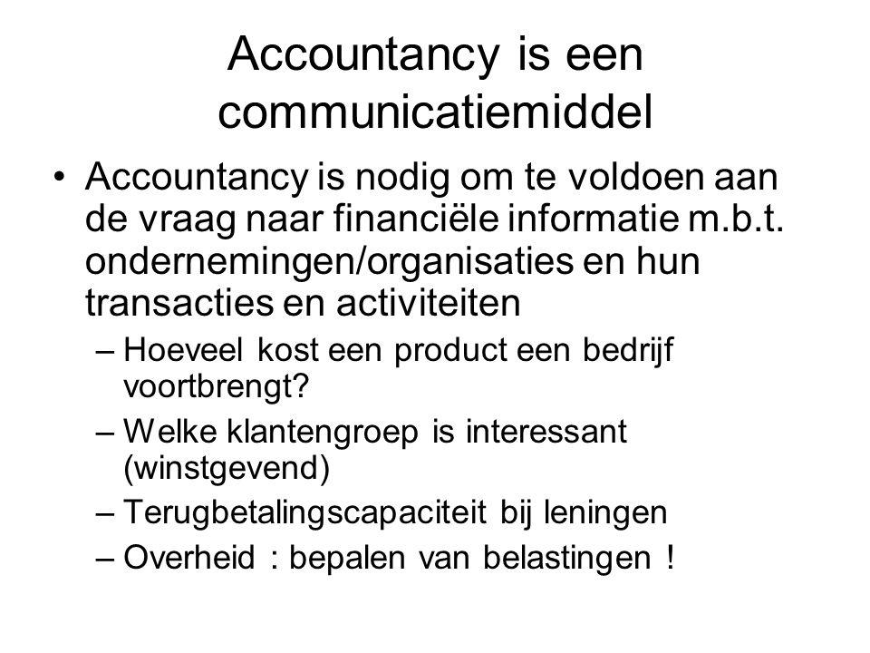 Accountancy is een communicatiemiddel Accountancy is nodig om te voldoen aan de vraag naar financiële informatie m.b.t. ondernemingen/organisaties en