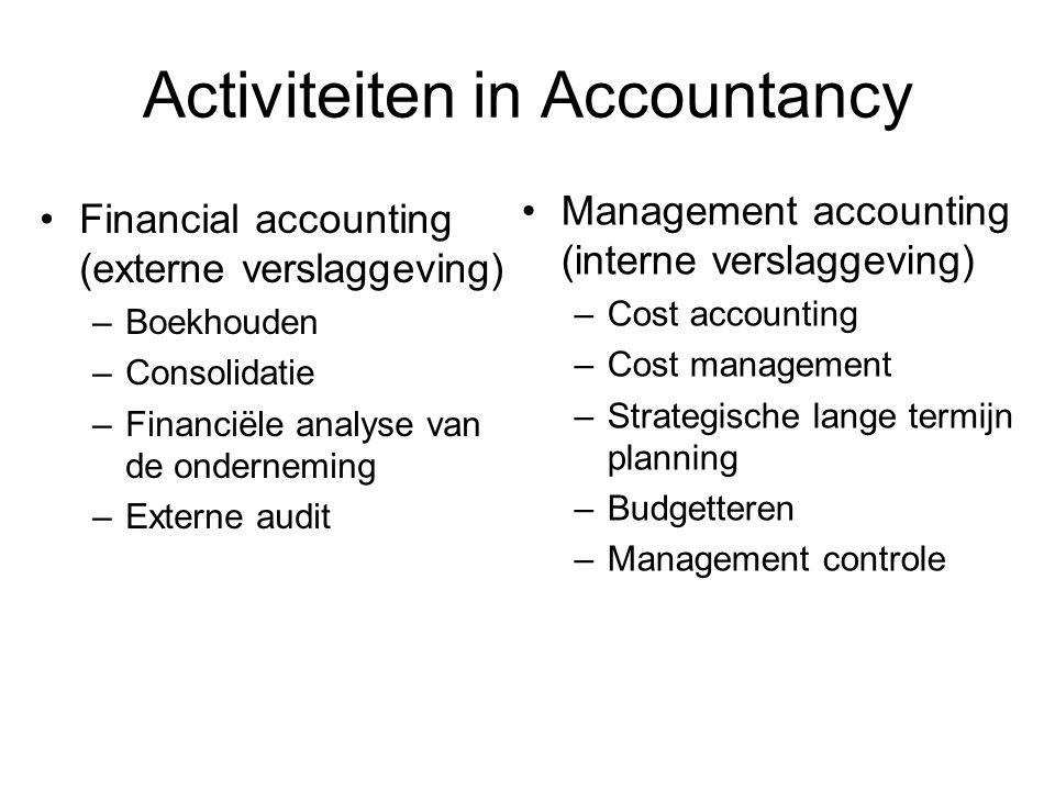 Activiteiten in Accountancy Financial accounting (externe verslaggeving) –Boekhouden –Consolidatie –Financiële analyse van de onderneming –Externe aud