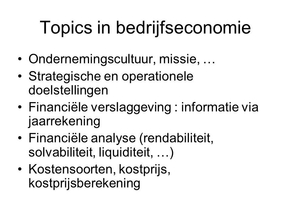 Topics in bedrijfseconomie Ondernemingscultuur, missie, … Strategische en operationele doelstellingen Financiële verslaggeving : informatie via jaarre