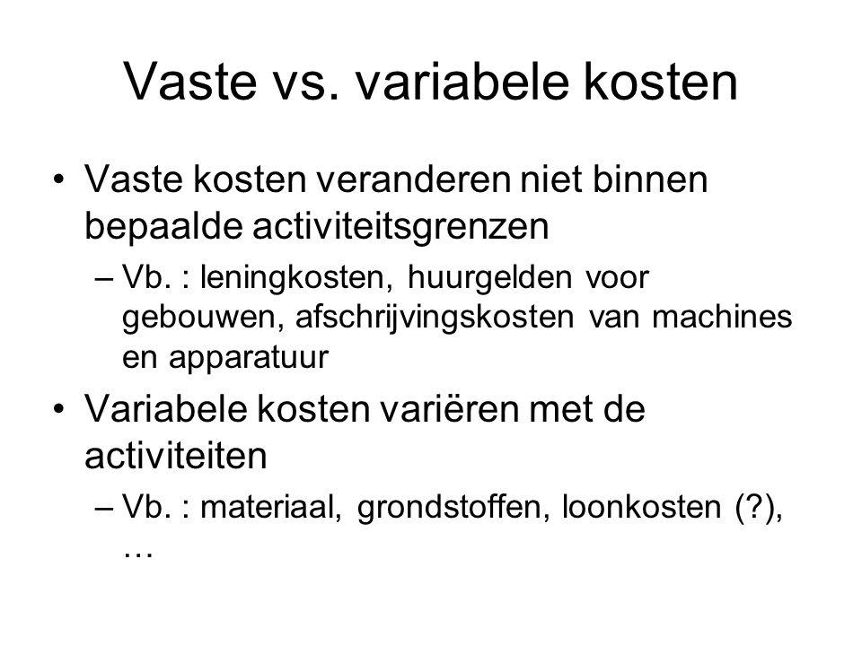 Vaste vs. variabele kosten Vaste kosten veranderen niet binnen bepaalde activiteitsgrenzen –Vb. : leningkosten, huurgelden voor gebouwen, afschrijving