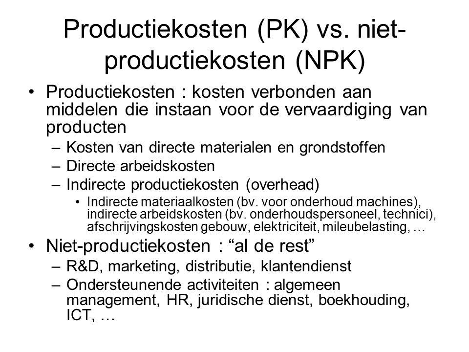 Productiekosten (PK) vs. niet- productiekosten (NPK) Productiekosten : kosten verbonden aan middelen die instaan voor de vervaardiging van producten –