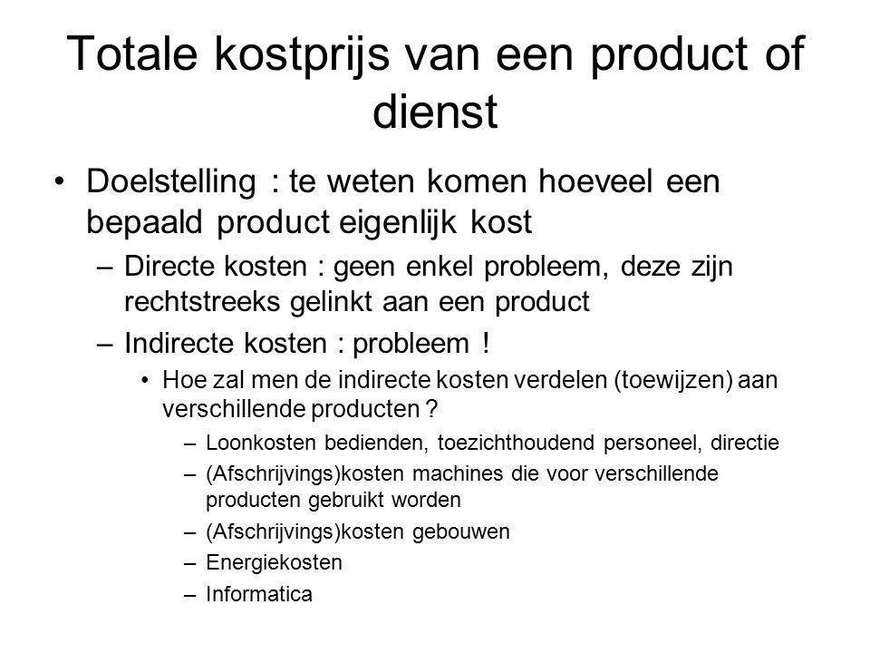 Totale kostprijs van een product of dienst Doelstelling : te weten komen hoeveel een bepaald product eigenlijk kost –Directe kosten : geen enkel probl