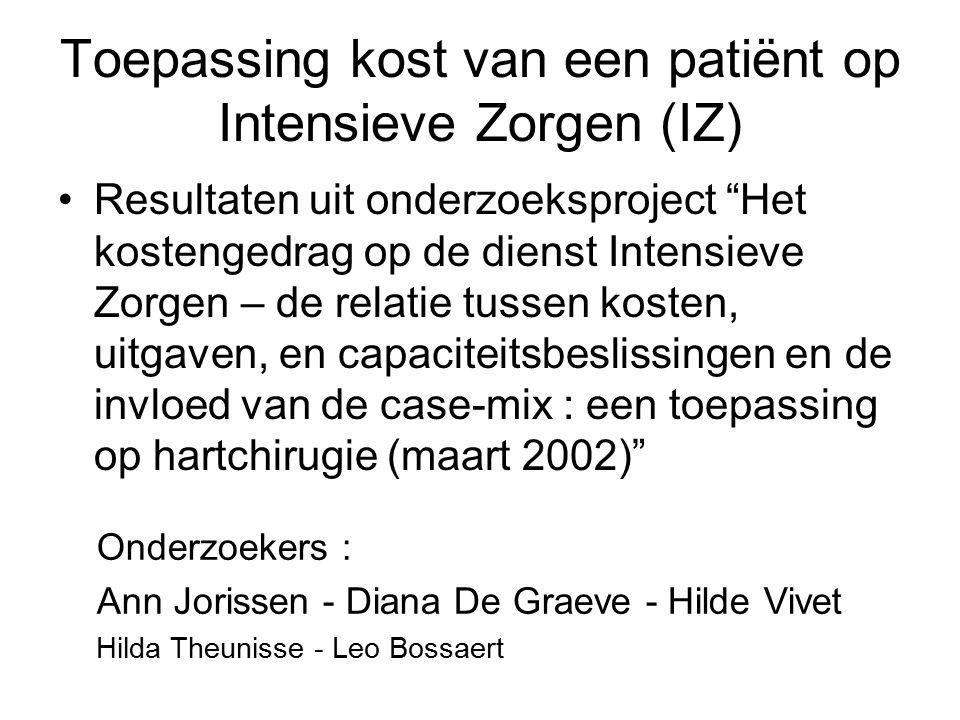 """Toepassing kost van een patiënt op Intensieve Zorgen (IZ) Resultaten uit onderzoeksproject """"Het kostengedrag op de dienst Intensieve Zorgen – de relat"""