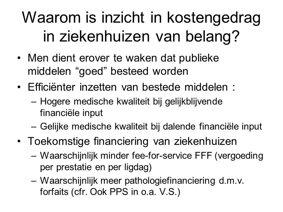 """Waarom is inzicht in kostengedrag in ziekenhuizen van belang? Men dient erover te waken dat publieke middelen """"goed"""" besteed worden Efficiënter inzett"""
