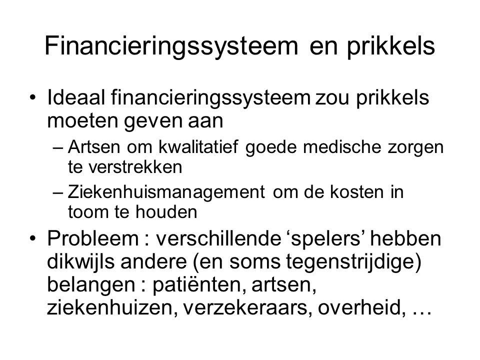 Financieringssysteem en prikkels Ideaal financieringssysteem zou prikkels moeten geven aan –Artsen om kwalitatief goede medische zorgen te verstrekken