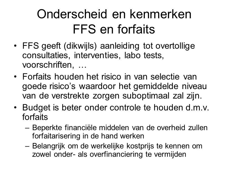 Onderscheid en kenmerken FFS en forfaits FFS geeft (dikwijls) aanleiding tot overtollige consultaties, interventies, labo tests, voorschriften, … Forf