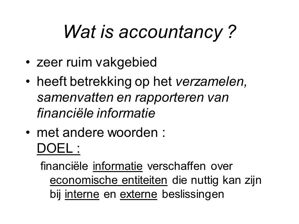 Wat is accountancy ? zeer ruim vakgebied heeft betrekking op het verzamelen, samenvatten en rapporteren van financiële informatie met andere woorden :