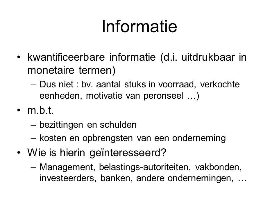 Informatie kwantificeerbare informatie (d.i. uitdrukbaar in monetaire termen) –Dus niet : bv. aantal stuks in voorraad, verkochte eenheden, motivatie