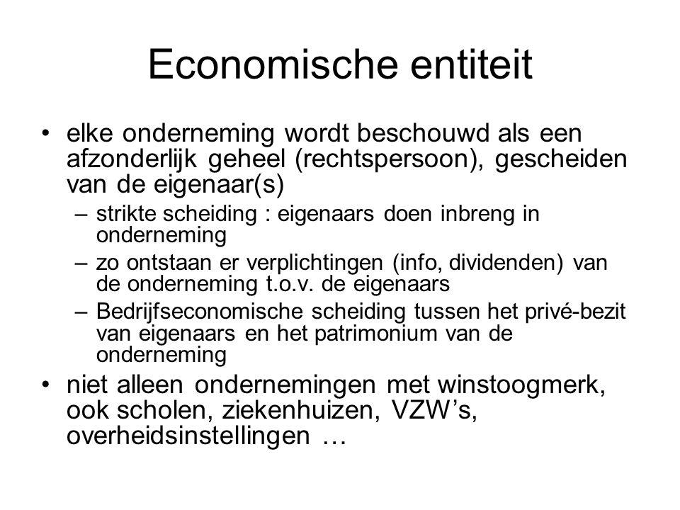 Economische entiteit elke onderneming wordt beschouwd als een afzonderlijk geheel (rechtspersoon), gescheiden van de eigenaar(s) –strikte scheiding :