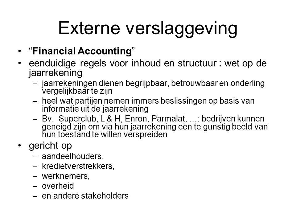 """Externe verslaggeving """"Financial Accounting"""" eenduidige regels voor inhoud en structuur : wet op de jaarrekening –jaarrekeningen dienen begrijpbaar, b"""