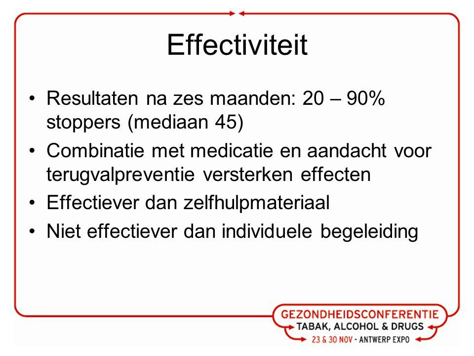 Effectiviteit Resultaten na zes maanden: 20 – 90% stoppers (mediaan 45) Combinatie met medicatie en aandacht voor terugvalpreventie versterken effecten Effectiever dan zelfhulpmateriaal Niet effectiever dan individuele begeleiding