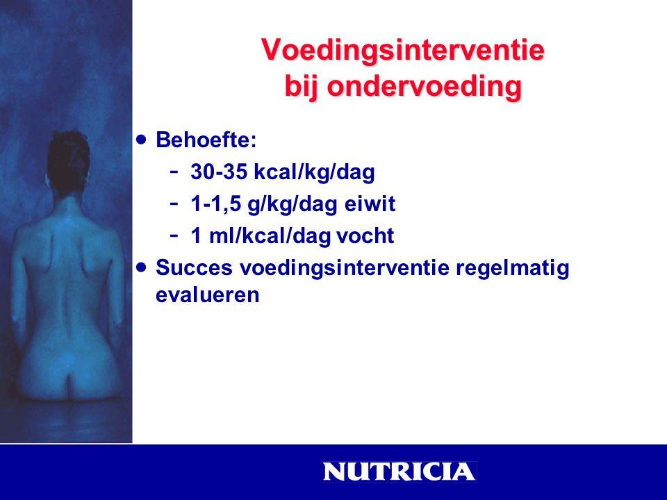  Behoefte: - 30-35 kcal/kg/dag - 1-1,5 g/kg/dag eiwit - 1 ml/kcal/dag vocht  Succes voedingsinterventie regelmatig evalueren Voedingsinterventie bij