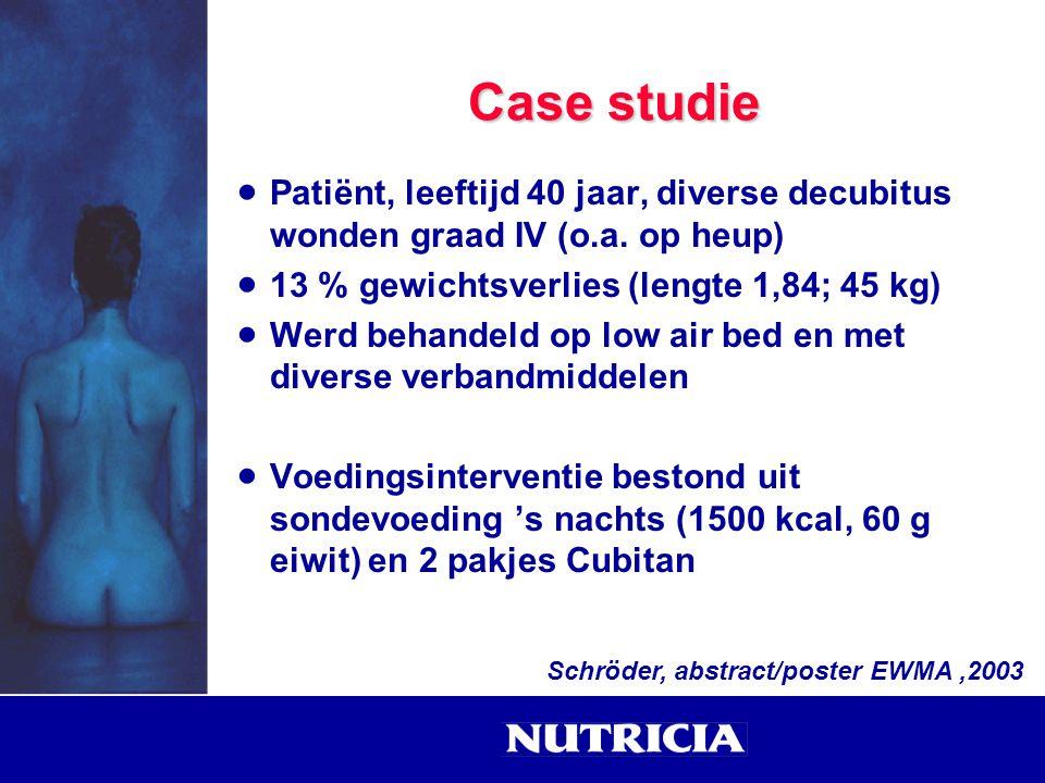 Case studie  Patiënt, leeftijd 40 jaar, diverse decubitus wonden graad IV (o.a. op heup)  13 % gewichtsverlies (lengte 1,84; 45 kg)  Werd behandeld