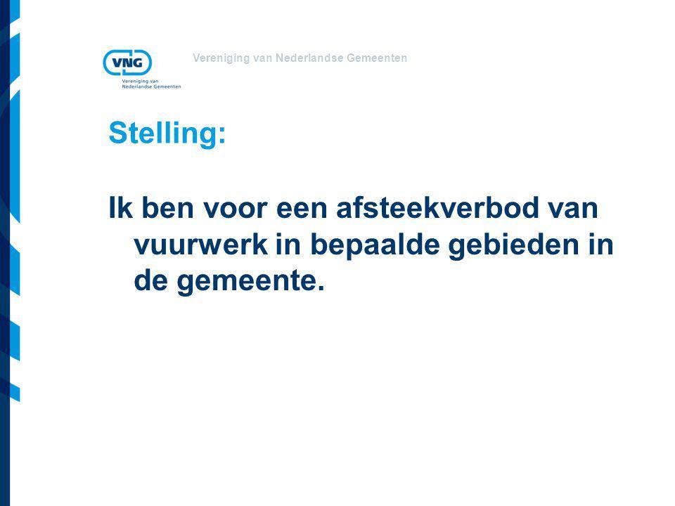 Vereniging van Nederlandse Gemeenten Stelling: Ik ben voor een afsteekverbod van vuurwerk in bepaalde gebieden in de gemeente.