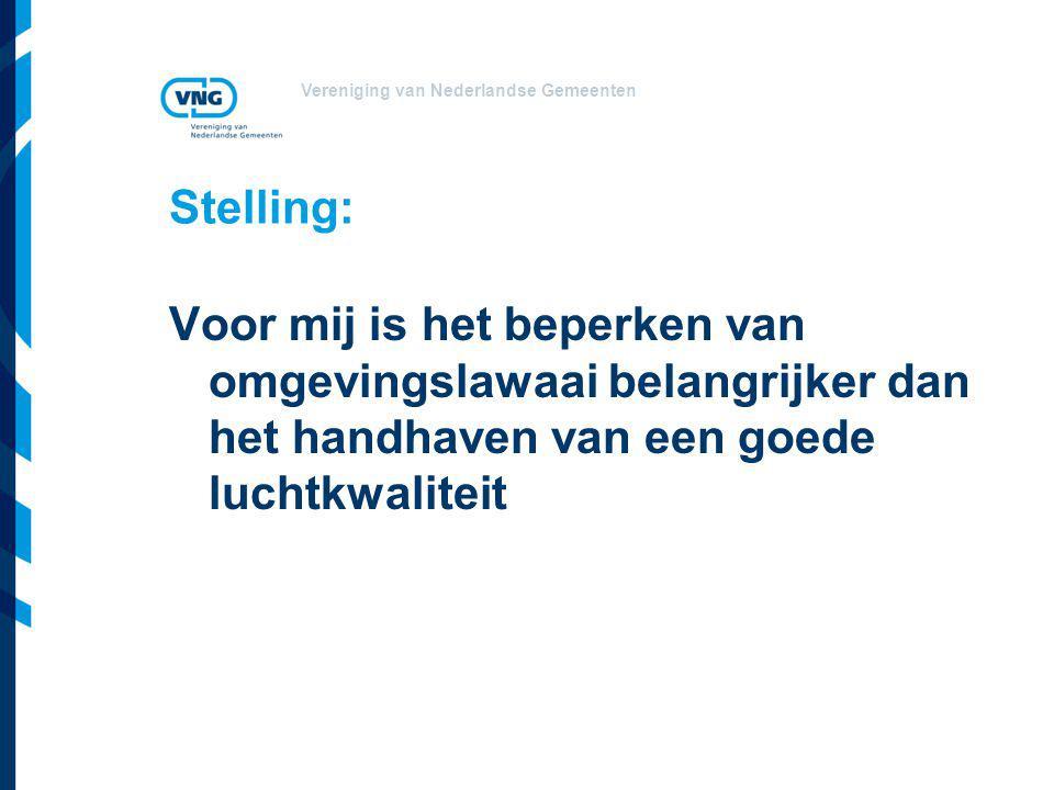 Vereniging van Nederlandse Gemeenten Stelling: Voor mij is het beperken van omgevingslawaai belangrijker dan het handhaven van een goede luchtkwaliteit