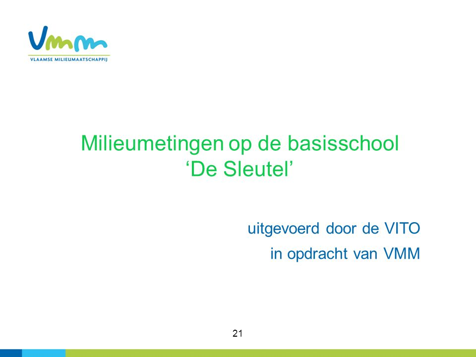 21 Milieumetingen op de basisschool 'De Sleutel' uitgevoerd door de VITO in opdracht van VMM