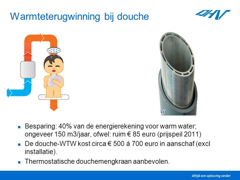 Warmteterugwinning bij douche Besparing: 40% van de energierekening voor warm water; ongeveer 150 m3/jaar, ofwel: ruim € 85 euro (prijspeil 2011) De d